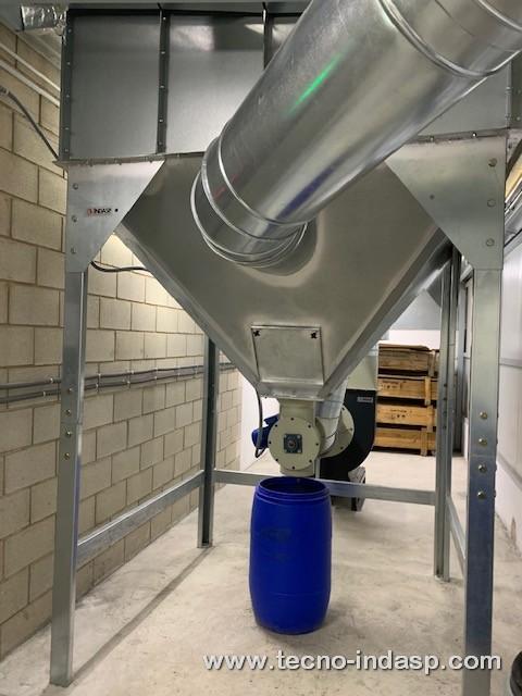 Instalación de aspiración de polvo con filtración de vacío